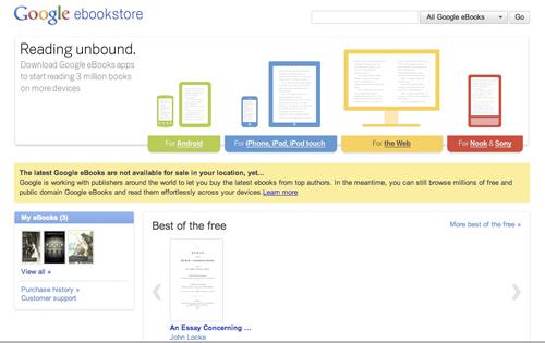 Se inaugura la Google eBookstore (o para leer libros en internet)
