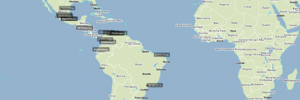 Así se veía el mundo a las 21:30 (hora española) gracias a Trendsmap. Vía @imlaurie y Biblioblog 3a ed.