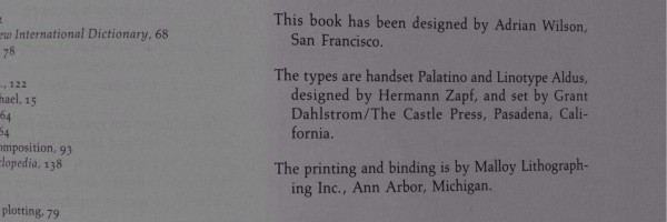 "Colofón actual en ""The design of books"" de Wilson"