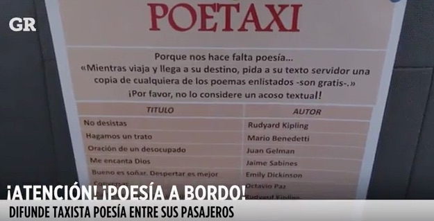 Poetaxi, fomento a la lectura en el taxi