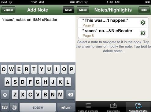 B&N eReader Notas y Highlights