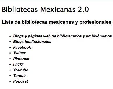 Bibliotecas mexicanas con presencia en la Web Social (Actualización 2010)