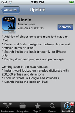 Actualización de software 2.5.2 para Kindle y 2.1 del Kindle para iPhone