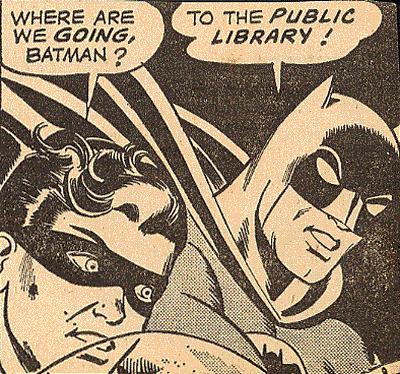 Batman y Robin en la Biblioteca Pública