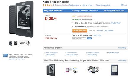 Venta de Kobo en Wal-Mart