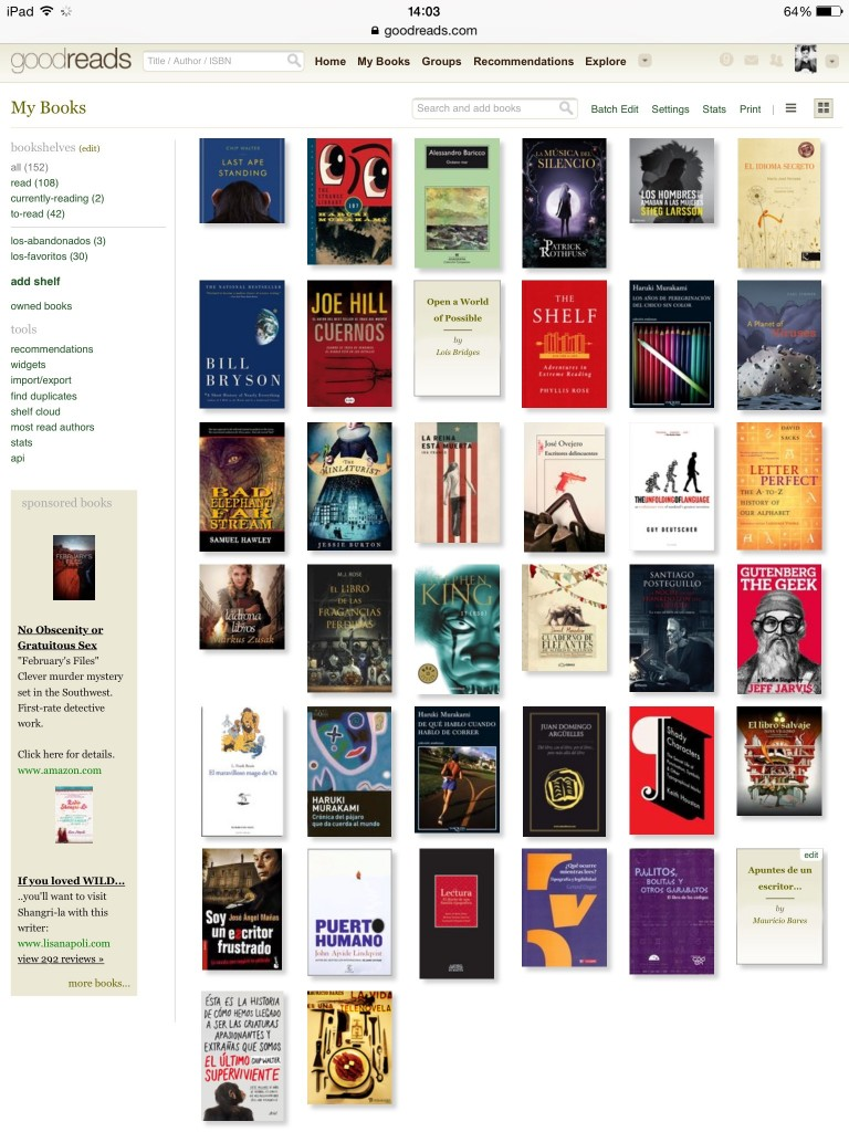 Goodreads lecturas 2014