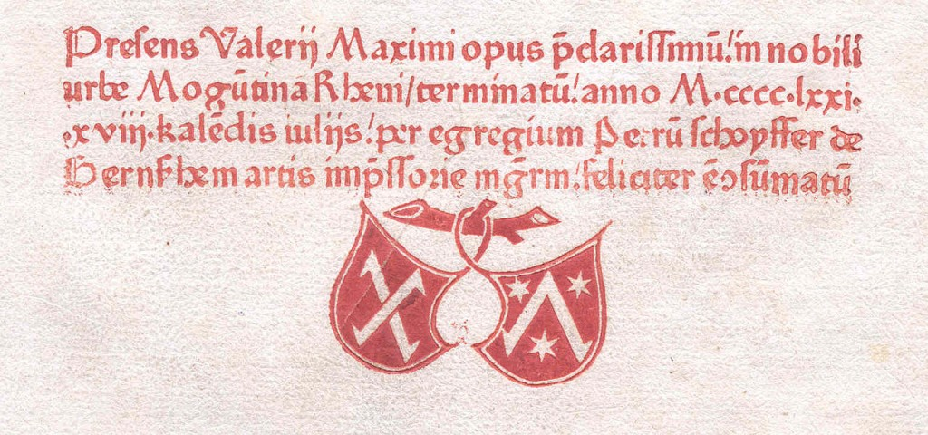 Colofón impreso en 1471. Fuente: Wikipedia