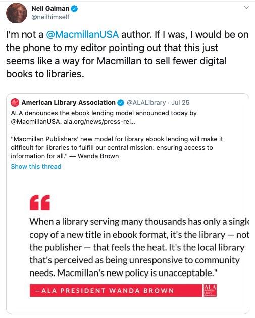 Prohibida la entrada de Macmillan a DBW 2020 en respuesta al embargo a las bibliotecas